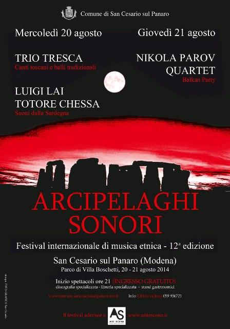 A San Cesario sul Panaro, Arcipelaghi sonori 2014 con Trio Tresca, Luigi Lai, Totore Chessa e Nikola Parov